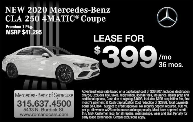 New 2020 Mercedes-Benz CLA 250 4MATIC Coupe Leases