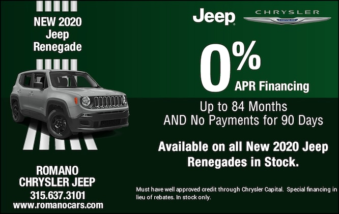 Special APR on New 2020 Jeep Renegades