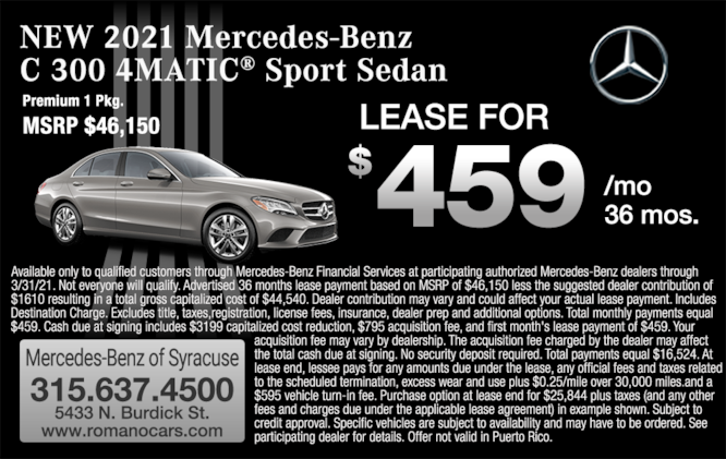2021 Mercedes-Benz C 300 Sedan Lease