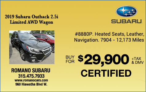 Subaru Certified 2019 Outback Limited AWD Wagon