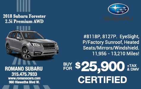 2018 Subaru Certified Forester Premiums