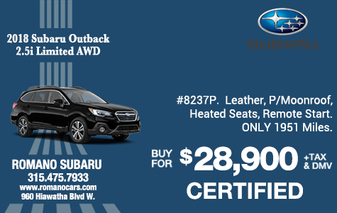 Subaru Certified 2018 Outback Limited Wagon AWD