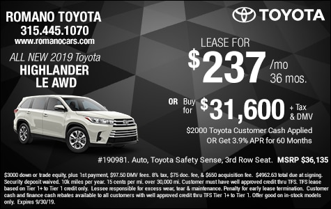 New 2019 Toyota Highlander LE Leases