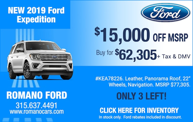 $15,000 Off MSRP on New 2019 Ford Expeditions
