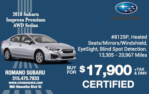 Certified 2018 Subaru Impreza Premium AWD Sedans