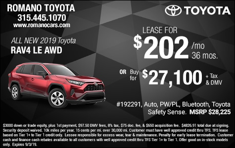 Toyota Lease Deals >> New Toyota Lease Deals Specials Offers Near Me Syracuse Ny Romano
