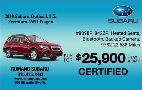 Subaru Certified 2018 Outback 2.5i Premium AWD Wagon