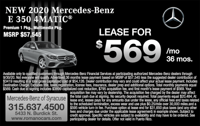 2020 Mercedes-Benz E 350 4MATIC Sedan Lease