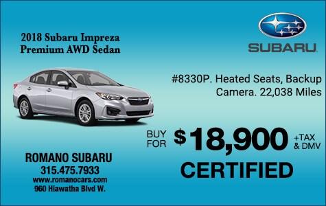 Subaru Certified 2018 Impreza Premium AWD Sedans