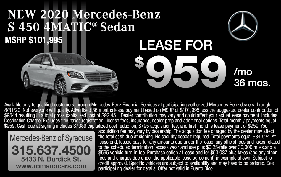 New 2020 Mercedes S 450 Leases