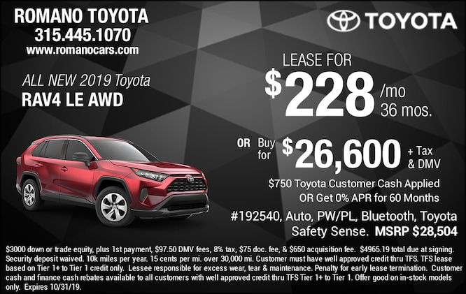 New 2019 Toyota Rav4 LE Leases