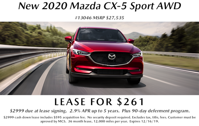 New 2020 Mazda CX-5 Sport AWD Lease