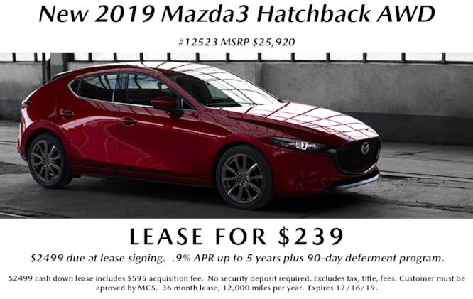 New 2019 Mazda3 AWD Hatchback