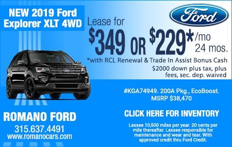 New 2019 Ford Explorer XLT Leases