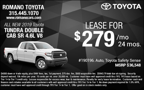 New 2019 Toyota Tundra SR 4.6L V8 Double Cab Leases