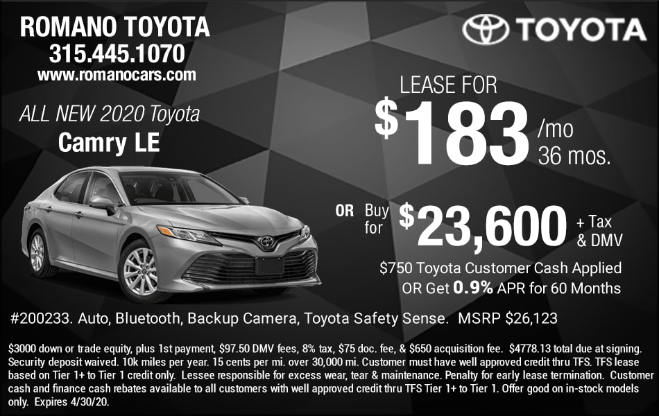 New 2020 Toyota Camry Lease Deals