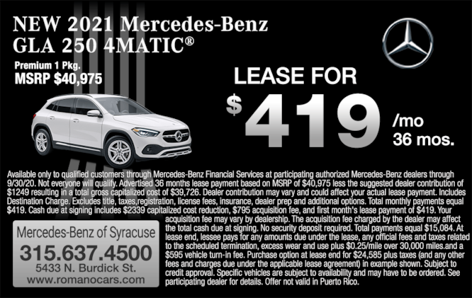 New 2021 GLA 250 4MATIC SUV Leases