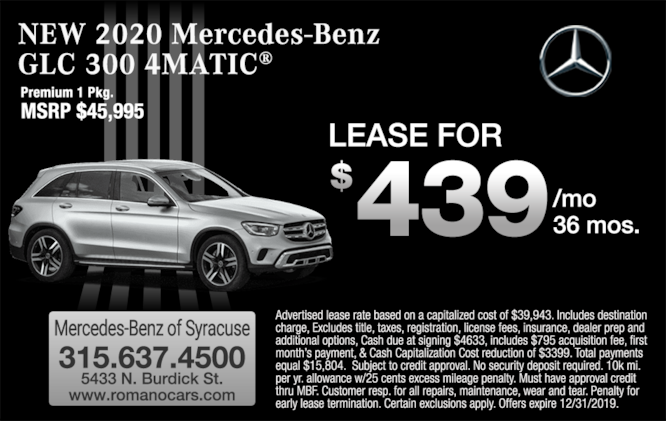 New 2020 Mercedes-Benz GLC 300 SUV Leases  Syracuse and Binghamton NY