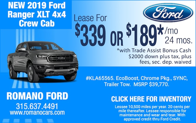 New 2019 Ford Ranger XLT Crew Cab Leases