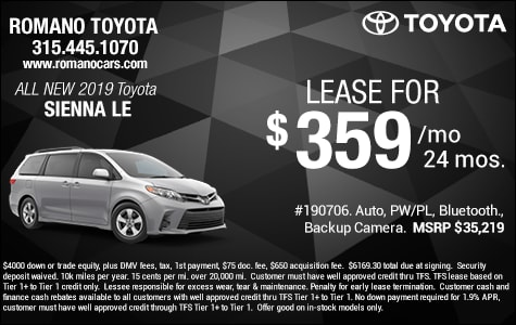 New 2019 Toyota Sienna LE Van Lease Special