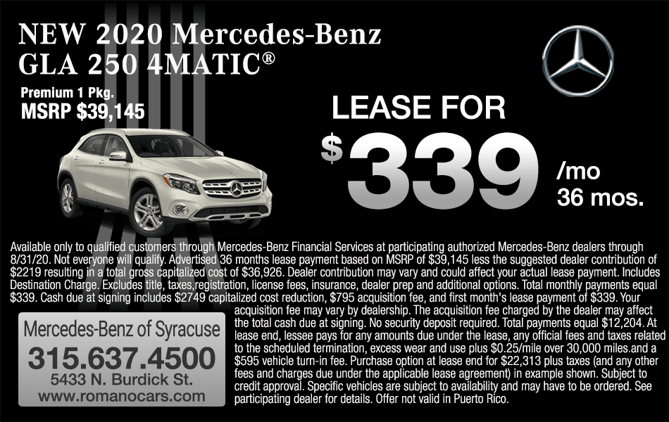 New 2020 GLA 250 4MATIC SUV Leases
