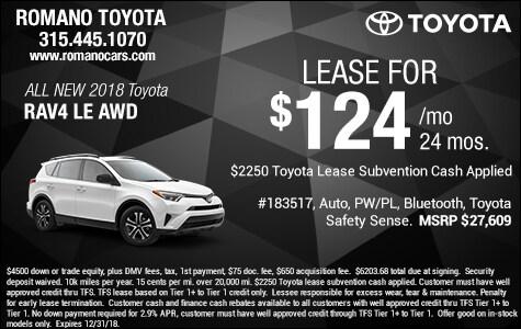 New 2018 Toyota Rav4 LE Leases