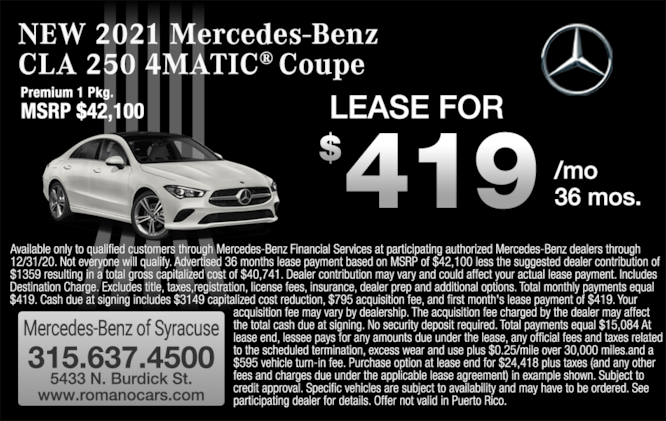 New 2021 Mercedes-Benz CLA 250 4MATIC Coupe Leases