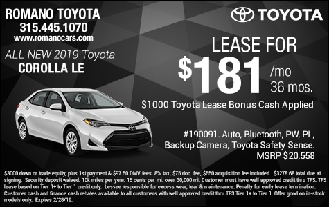New 2019 Toyota Corolla LE Leases