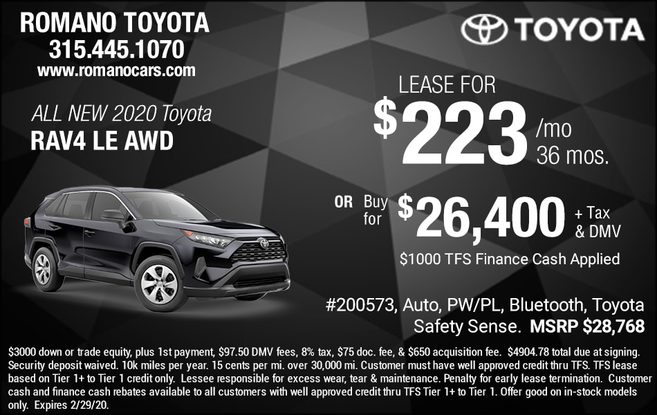 New 2020 Toyota Rav4 Lease Deals