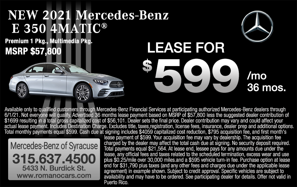 New 2021 Mercedes E 350 4MATIC Leases