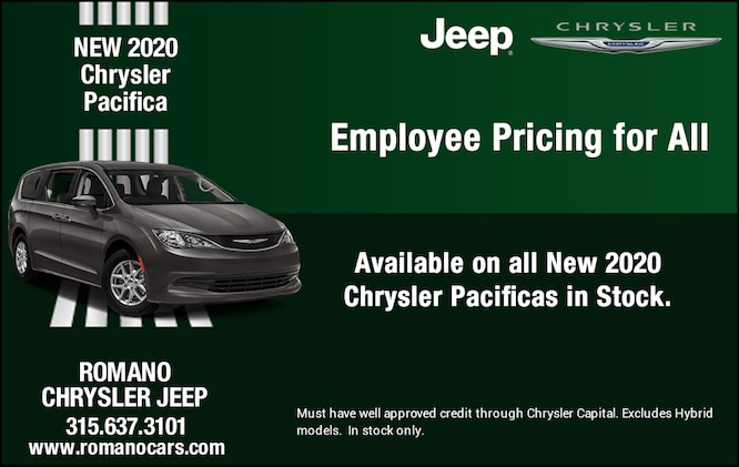 New 2020 Chrysler Pacifica Employee Pricing for All
