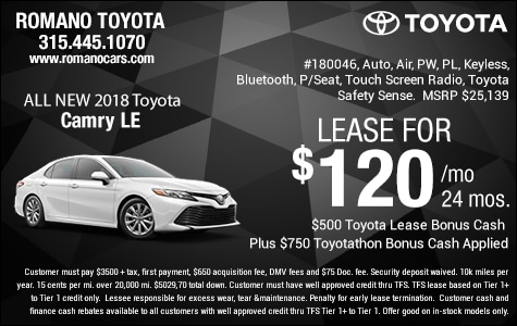 New 2018 Toyota Camry LE Leases
