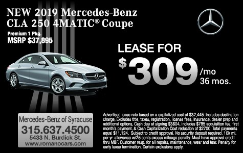 New 2019 Mercedes-Benz CLA 250 4MATIC Coupe Leases