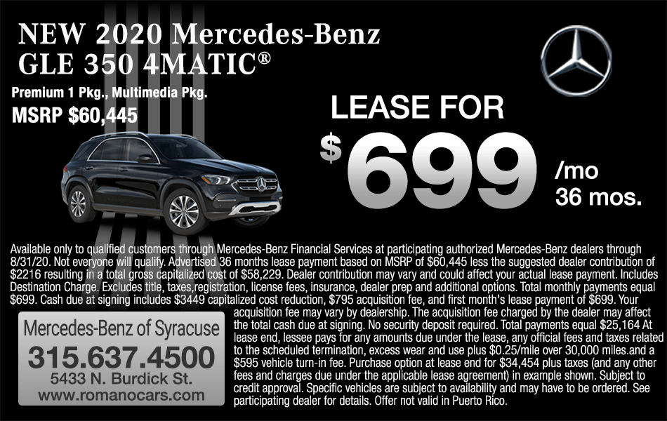 New 2020 Mercedes-Benz GLE 350 4MATIC SUV Leases
