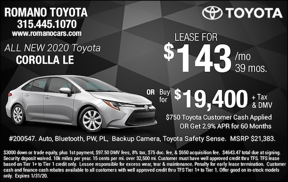 Lease Specials Near Me >> New Toyota Corolla Deals Specials Near Me In Syracuse Ny