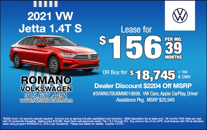 New  2021 VW Jetta S Leases