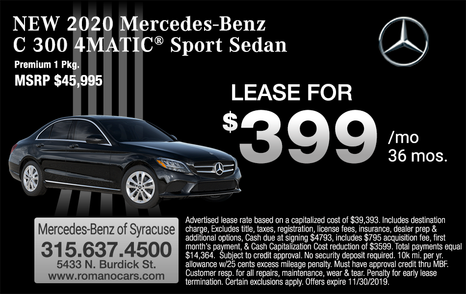 New 2020 Mercedes C 300 4MATIC Lease