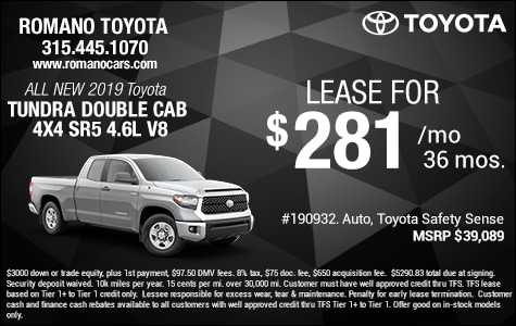New 2019 Toyota Tundra SR5 4.6L V8 Double Cab Leases