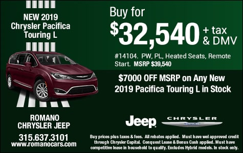 $7000 Off MSRP on New 2019 Chrysler Pacifica Touring L