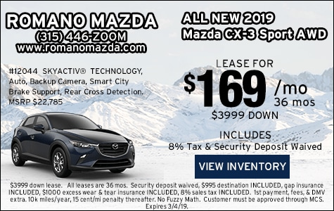 New 2019 Mazda CX-3 Sport AWD Leases
