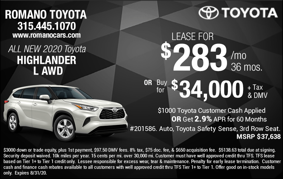New 2020 Toyota Highlander Lease Deals