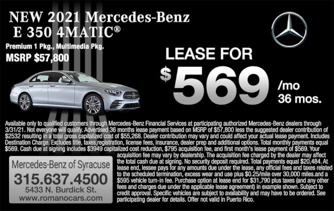 2021 Mercedes-Benz E 350 4MATIC Sedan Lease