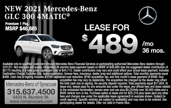 New 2021 Mercedes-Benz GLC 300 SUV  Leases  Syracuse and Binghamton NY
