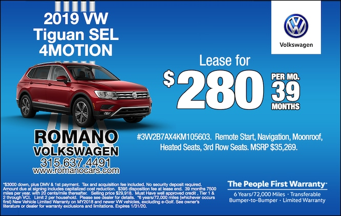 New 2019 VW Tiguan SEL 4MOTION Lease