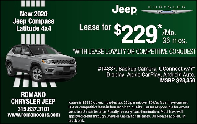New 2020 Jeep Compass Latitude 4x4 Leases