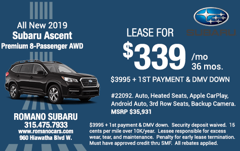 New 2019 Subaru Ascent Premium 8-Passenger AWD SUV