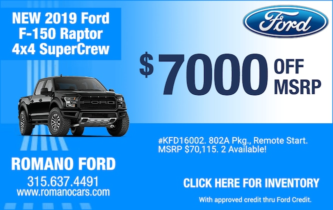 $7000 Off MSRP on New 2019 Ford Raptors