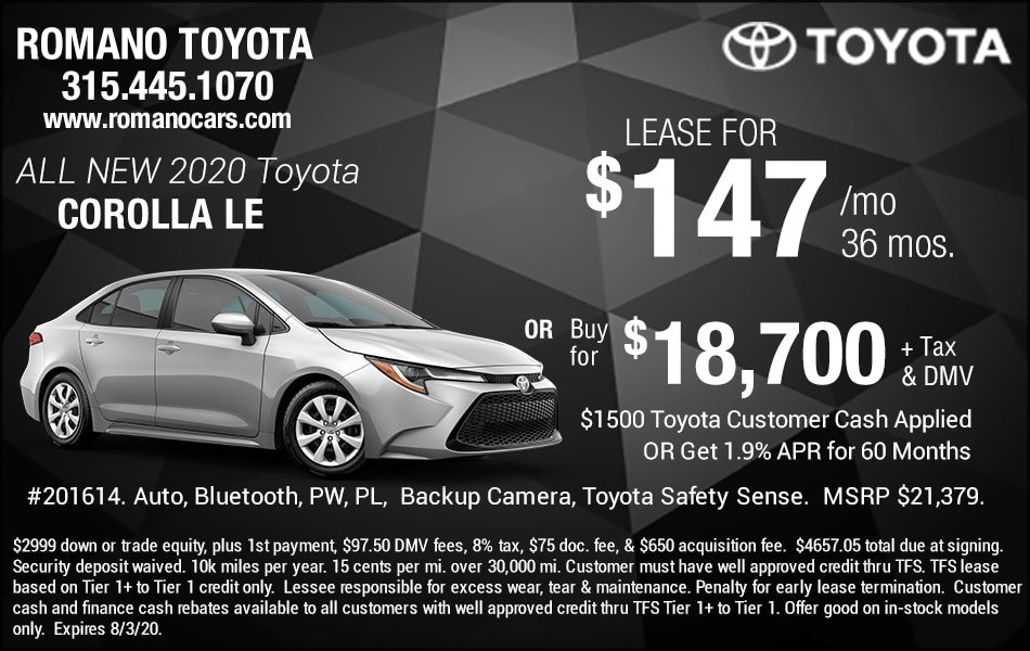 New 2020 Toyota Corolla Lease Deals