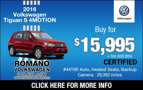 VW Certified 2016 Tiguan S 4MOTION