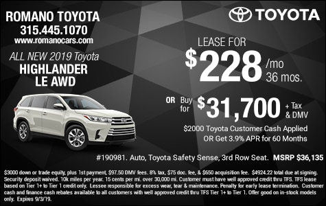 Toyota Highlander Lease >> New Toyota Lease Deals Specials Offers Near Me Syracuse Ny Romano
